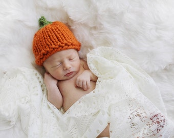 Pumpkin Baby Hat Newborn Baby Hat Knit Vegetable