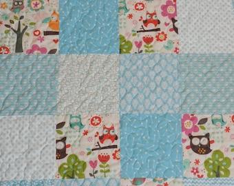 Owl quilt, aqua, baby girl quilt,chevron, crib bedding, aqua pink, owl