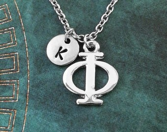 Phi Necklace SMALL Greek Letter Necklace Greek Alphabet Necklace College Jewelry Sorority Necklace Fraternity Jewelry Phi Symbol Necklace