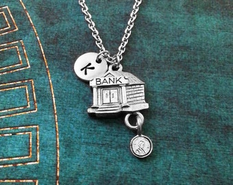 Bank Necklace SMALL Bank Jewelry Coin Necklace Banker Necklace Bank Charm Necklace Pendant Necklace Initial Necklace Money Necklace Gift
