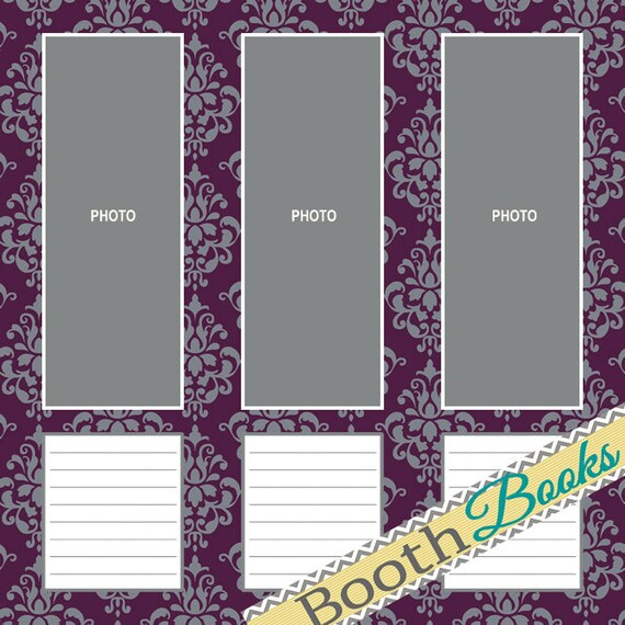 Download 12x12 Photo Booth Guest Book Scrapbook Page Black
