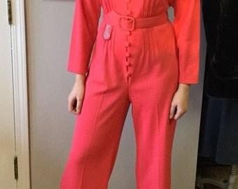 Fabulous Vintage Hot Pink Belted Jumpsuit