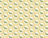 Turtle Fabric, Riley Blake Fine & Dandy C4363 Yellow, Turtle Quilt Fabric, Baby Fabric, Green Turtle, Yellow Hexagons, Lori Whitlock, Cotton