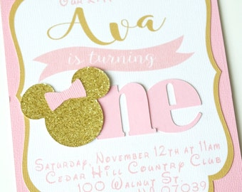 Minnie Mouse Invitation - Pink and Gold Minnie Mouse Invitations - Girls 1st birthday Birthday - Bridal Shower - Pink and gold Birthday