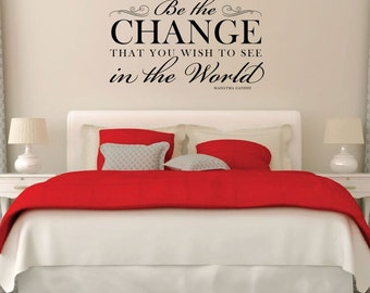 Mahatma Gandhi Quote Be The Change That You Wish To See In The World Inspirational Vinyl Wall Decoration for Home Decor, Gandhi Wall Quote