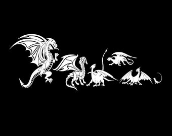 My dragon family car decal, dragon laptop decal, dragon vinyl decal, dragon car sticker, dragon car decals, dragon auto decal, auto sticker
