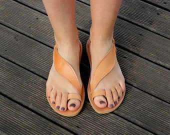 Ancient Greek handmade 100% Leather Sandals Natural Color Women's
