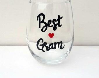 Best Gram handpainted stemless wine glass tumbler /Gifts for Gram/ Gifts for Grandma