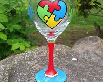 Autism Awareness hand painted wine glass