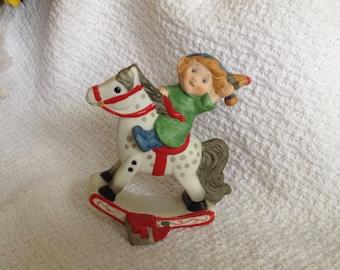 Boy on Rocking Horse Hallmark Figurine, Elf on Rocking Horse Figurine, May Christmas Color Your World with Joy, Hallmark 1984 Figurine
