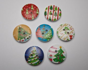 Pack of 15, wooden christmas buttons, 20mm at longest point, ideal for christmas crafts