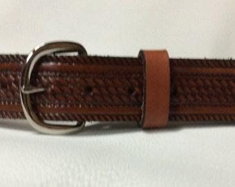 Leather Basketweave Belt / Design Your Own Belt / Pick Your Color