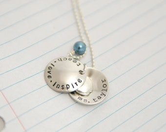 Teacher Gift - Graduation Gift - Teacher Necklace - Thank You Gift - Gift for Teachers - Personalized Teacher Gift - Teacher Jewelry