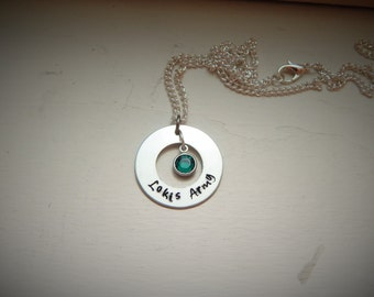 Lokis Army, hand stamped necklace, Swarovski crystal