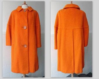 Fabulous Orange 60s Vintage Wool Coat // Deadstock // Size M // June Line Around The World