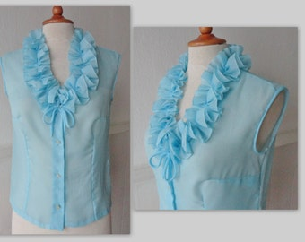 70s Vintage Sheer Blouse With Ruffles // Turquoise // Size S/M