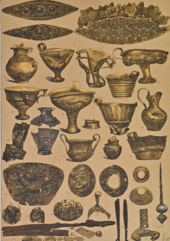 Mycenae objects in the  Ancient history.  Antique print,1894.  121 years old print.  11,5 x 8,4 inches.