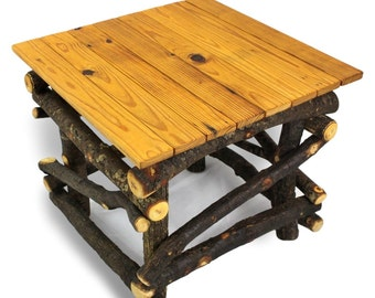 Wood End Table, Large End Table, Large Side Table, Reclaimed Wood Table, Rustic Wood Table, Rustic Table, Primitive Furniture, Wooden Table