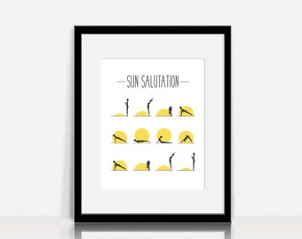 Yoga - Sun Salutation - Wall Art - Digital Instant Download