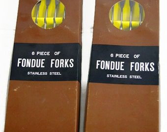 Vintage 6 Piece of Fondue Forks Stainless Steel - Lot of 2 Total of 12 Pieces - Wood Handle - NOS - New Old Stock