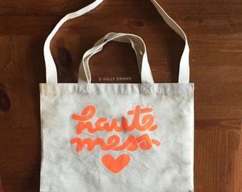 Haute Mess Canvas Tote Bag Neon Orange Reusable Grocery Gym Book Bag