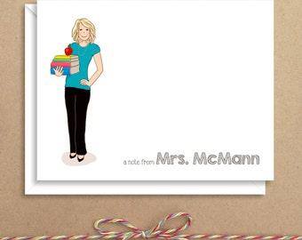 Teacher Note Cards - Teacher Folded Notes - Thank You Cards- Illustrated Note Cards - Personalized Note Cards