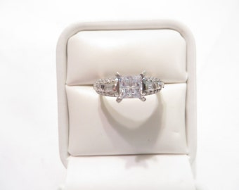 Beautiful CZ Sterling Silver Cluster Engagement Ring