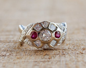 Vintage Custom Diamond and Ruby White Gold Ring