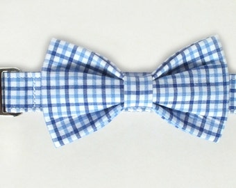 Preppy Blue Plaid Dog Collar Bow Tie set with metal hardware, pet bow tie, collar bow tie, wedding bow tie