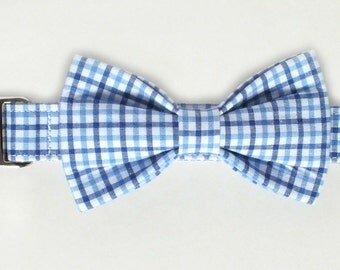 Preppy Blue Plaid Dog Collar Bow Tie set with metal hardware, pet bow tie, collar bow tie, wedding bow tie