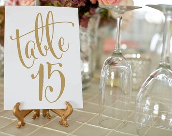 Antique Gold Wedding Table Numbers ⋆ Printable Wedding Table Numbers ⋆ Vintage Wedding Decor ⋆ 5x7 Gold Table Number Cards ⋆ #KKD105