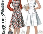 1940s Sun Dress Tennis Dress Pattern Simplicity 4295 Bust 36 Pattern WWII Jumper Blouse Square Neck Flare Skirt Patch Pockets
