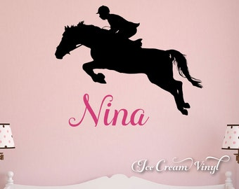 Name Wall Decal Horse Riding Vinyl Animal Decal Childrens Decor
