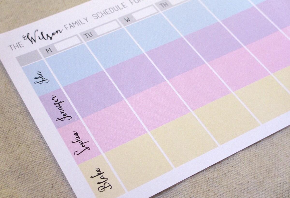 Printable custom family weekly schedule printable planner for Custom photo planner