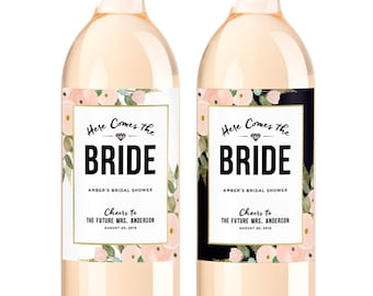 Custom Bridal Shower Wine Labels  - Personalized Bachelorette Party Decoration Bottle Label -Here Comes the Bride - Future Mrs