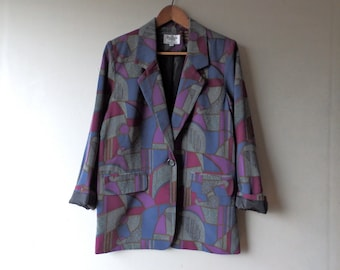 Vintage Purple/Gray One Button Blazer with Shoulder Pads - Size 9 S/M