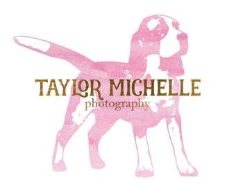 Pet Photography logo - Watercolor Logo - Photography logo - Custom Premade Logo - Dog Logo Watermark- Business Logo  - Pink Watercolor Logo