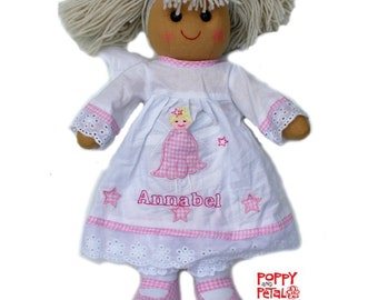 Rag Doll Angel Personalized, Embroidered Rag Doll, Cloth Doll, Fabric Doll, First Doll, Custom Rag Doll, Girl Gift, Baby Doll, Dolls.