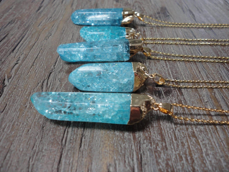 Aqua Crackle Quartz Crystal Gold Pendant Necklace//Gemstone