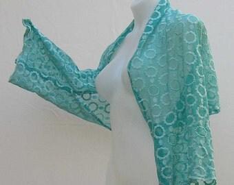 Aqua lace Shrug, plus size shrug, aqua blue bolero, blue lace shrug, upcycled bolero, refashioned shrug, aqua bolero, blue shrug, aqua shrug