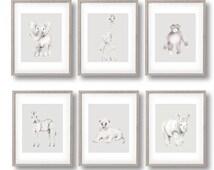 Safari Animal Nursery Art, Sketch, Grey Nursery Decor, Jungle Nursery Prints, Lion, Elephant, Giraffe, Monkey, Rhino, Zebra, Pencil Drawing