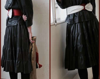 80's Set, skirt and sweater, black leather  flounced skirt, shouldered sweater and kimono sleeves, Unique Look!