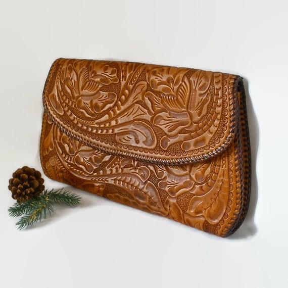 Clutch Hand Tooled Leather Purse Bag Laced Collectible Vintage