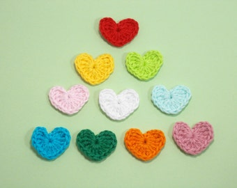 Crochet heart applique, Multicolor crochet hearts, Heart applique, crochet mini hearts, cotton hearts /Set of 10/