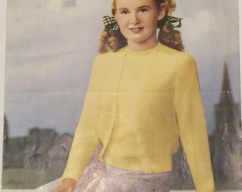 Target Vintage Knitting Pattern Twin-set Cardigan and top 1930s/1940s Age 10-14 years