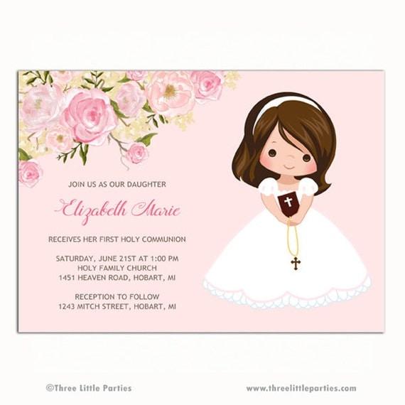 Flores primera invitación de comunión para por ThreeLittleParties