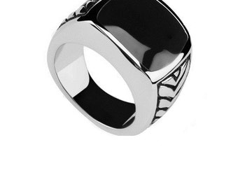 Onyx Stainless Steel Ring