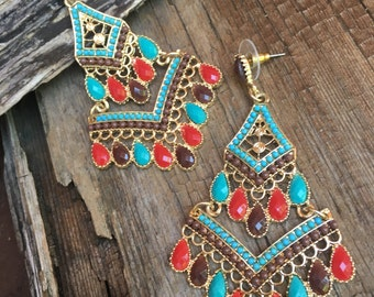 large turquoise red chandelier earrings, long turquoise dangle earrings, summer earrings, American Indian earrings, gift for her, statement