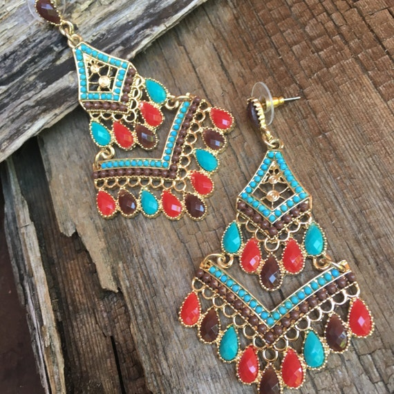 Red Chandelier India: Large Turquoise Red Chandelier Earrings Long Turquoise Dangle