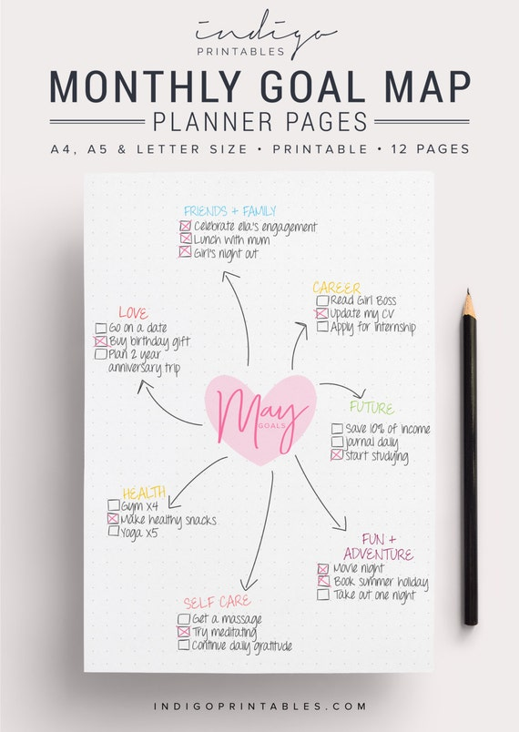 monthly goal planner goal planner goal tracker by
